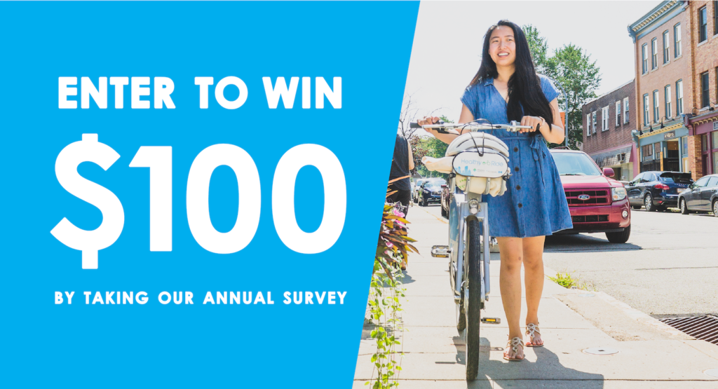 text reads: enter to win $100 by taking our annual survey